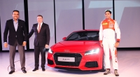 Mr. Joe King, Head, Audi India with former Indian Cricketer Ravi Shastri and Audi racing talent Aditya Patel at the launch of all new Audi TT